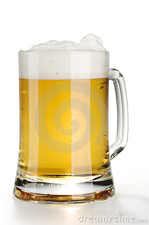 Alcohol light beer mug with froth isolated