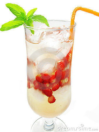 Alcohol liqueur punch cocktail with strawberry