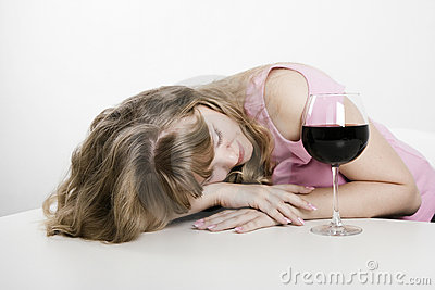 Alcoholic dream of the young woman