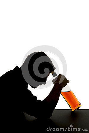 Free Alcoholic Drunk Man With Whiskey Bottle In Alcohol Addiction Silhouette Royalty Free Stock Image - 42516986
