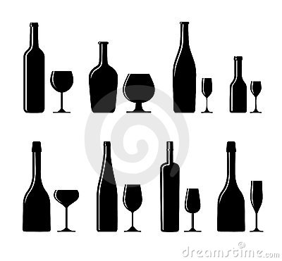 Alcoholic glass and bottle
