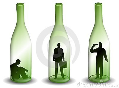 Alcoholism Man in a Wine Bottle