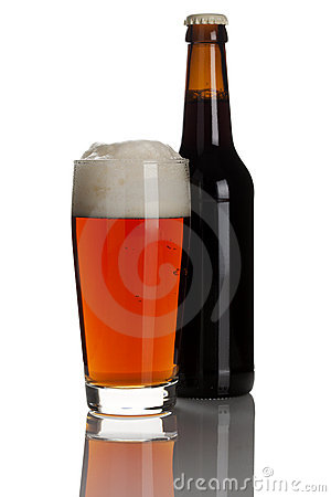 Ale in glass and bottle isolated