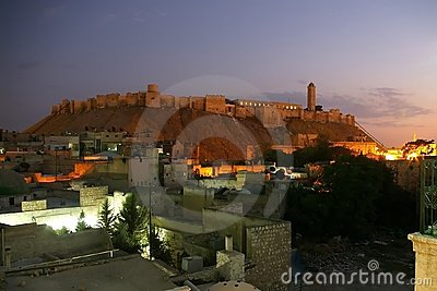 Aleppo Citadel by night