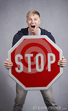 Free Alert Man Showing Stop Sign. Stock Images - 28588694