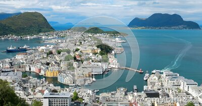 Alesund, Norway. Alesund Skyline Cityscape. Historical Center In Sunny Summer Day. Famous Norwegian Landmark And Popular stock footage