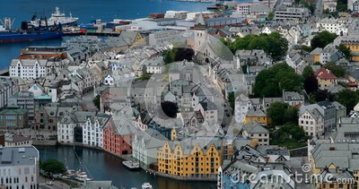 Alesund, Norway. Alesund Skyline Cityscape. Historical Center In Sunny Summer Day. Famous Norwegian Landmark And Popular stock video