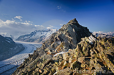 Aletsch glacier with Bettmerhorn
