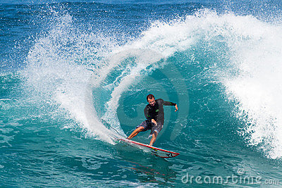 Alex Gray of California Surfing at Off the Wall Editorial Stock Image