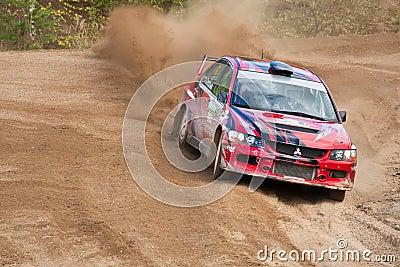 Alex Kononov drives a  Mitsubishi Editorial Photo