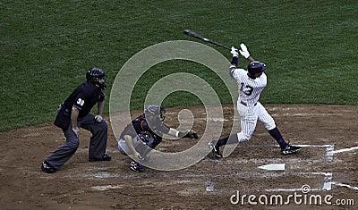 Alex Rodriguez hits a home run. Editorial Photo