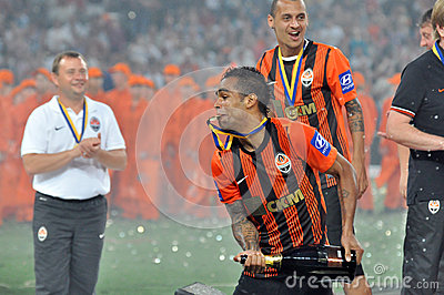 Alex Teixeira with a medal in the teeth Editorial Stock Photo