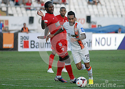 Alex Teixeira and Steven Thicot in Dinamo Bucharest-Shaktar Donetk Editorial Stock Image