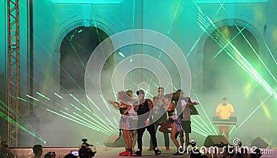 Alex Velea and his dancers Editorial Photo