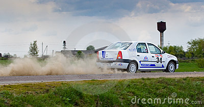 Alex Voronov drives a Renault Logan ca Editorial Stock Photo