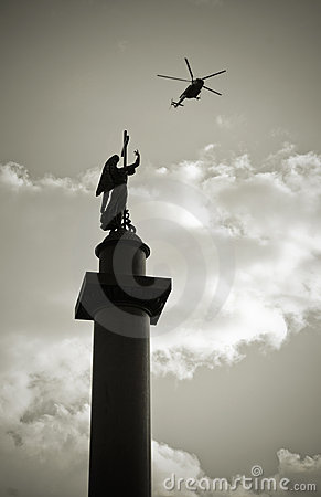 Alexander column in St Petersburg, Russia
