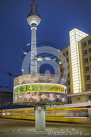 Alexanderplatz at night in Berlin Editorial Photo