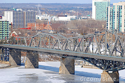Alexandra Bridge winter view, Ottawa