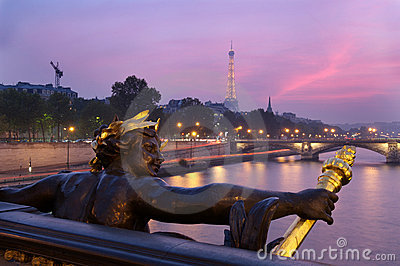 Alexandre iii bridge and eiffel tower