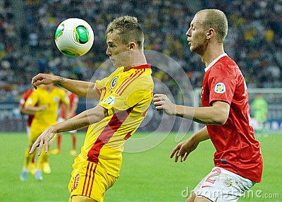 Alexandru Maxim and Semih Kaya in Romania-Turkey World Cup Qualifier Game Editorial Stock Photo