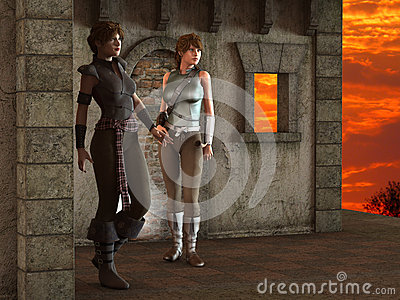 Alexia and Thea -- Fantasy Female Medieval Ranger Scouts - Image 2