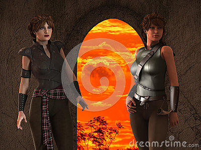 Alexia and Thea -- Fantasy Female Medieval Ranger Scouts - Image 3
