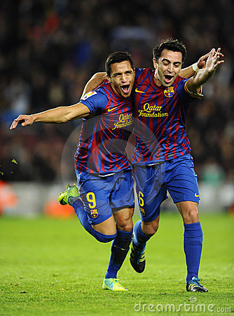 Free Alexis And Xavi Of FC Barcelona Stock Photography - 22244572