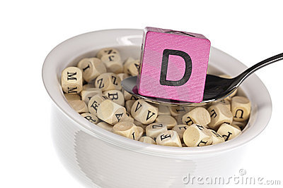 Alfabet D som presenterar det rika soupvitaminet