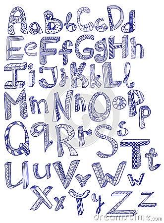 Alfabet tecknad hand