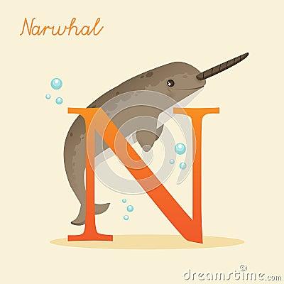 Alfabeto animale con il narvalo