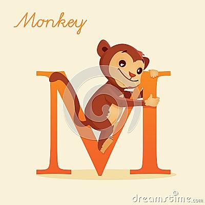 Alfabeto animale con la scimmia