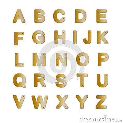 Alfabeto de la placa de cobre amarillo