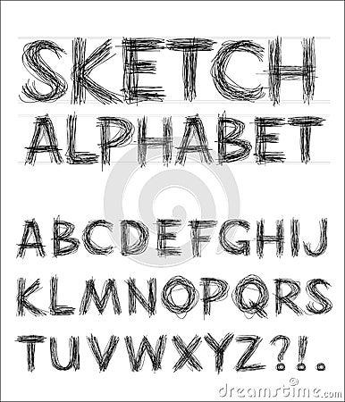 Alfabeto del bosquejo del vector