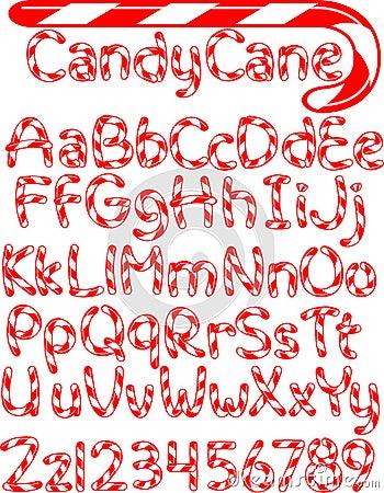 Alfabeto della canna di caramella