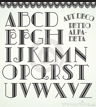 Alfabeto di art deco