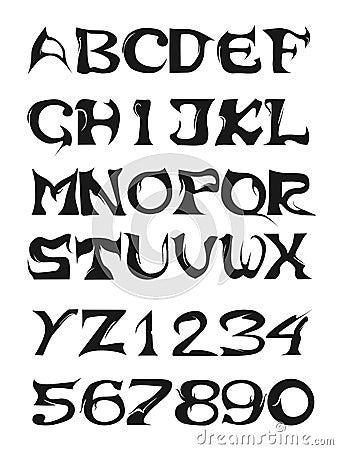 Un Alfabeto Completo E Fonti Tipografiche Di Numeri Con La Funzione