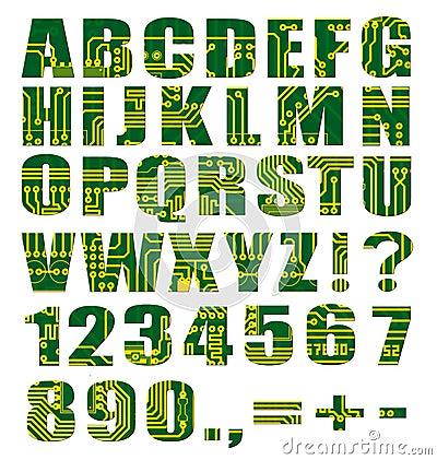 Alfabeto eletrônico com letras e dígitos
