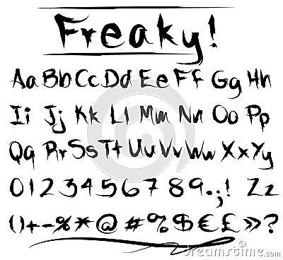 Alfabeto Freaky della fonte tipografica