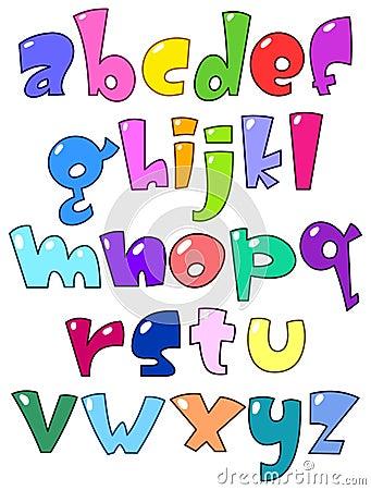 Alfabeto pequeno dos desenhos animados