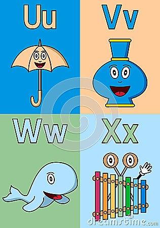 Alfabeto U-X do jardim de infância