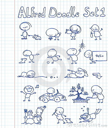 Free Alfred Doodle Set 1 Stock Image - 13548581
