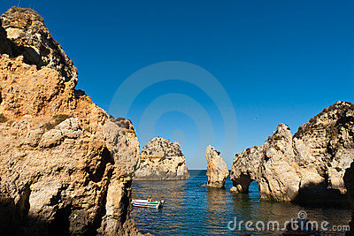 Algarve cliffs in portugal