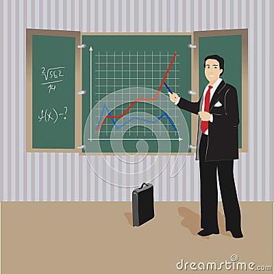 Algebra teacher at blackboard