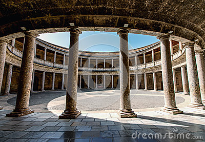 Alhambra De Granada. Court Of The Carlos V Palace Stock Photo - Image: 41216548