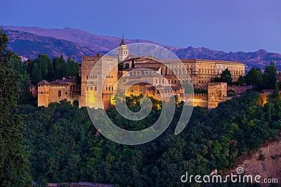 Alhambra de Granada panoramic at dusk