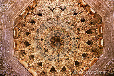 Arabic design full decorated dome ceiling of famous Alhambra palace ...