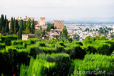 Alhambra palace and view of Granada city