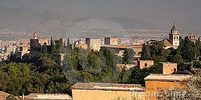 Alhambra seen from behind looking out to Granada