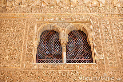 Alhambra windows showing fine moorish detail