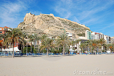 Alicante beach and fortress view